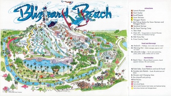 map of blizzard beach orlando Disney S Blizzard Beach Guide Map 1995 Starport75 map of blizzard beach orlando